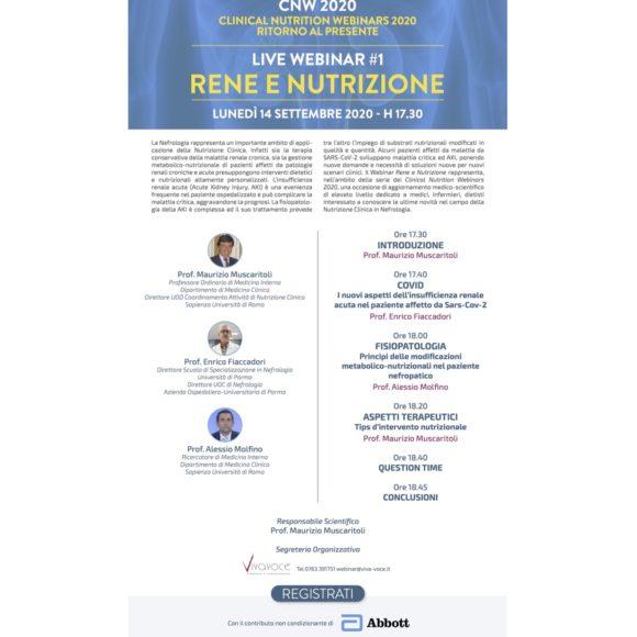 CNW 2020 – CLINICAL NUTRITION WEBINARS 2020 RITORNO AL PRESENTE       –         LIVE WEBINAR #1 RENE E NUTRIZIONE