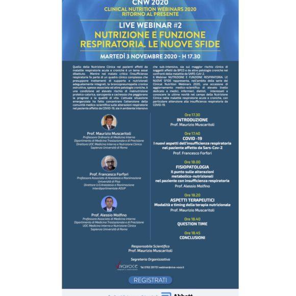 CLINICAL NUTRITION WEBINARS 2020 RITORNO AL PRESENTE LIVE WEBINAR #2 NUTRIZIONE E FUNZIONE RESPIRATORIA. LE NUOVE SFIDE