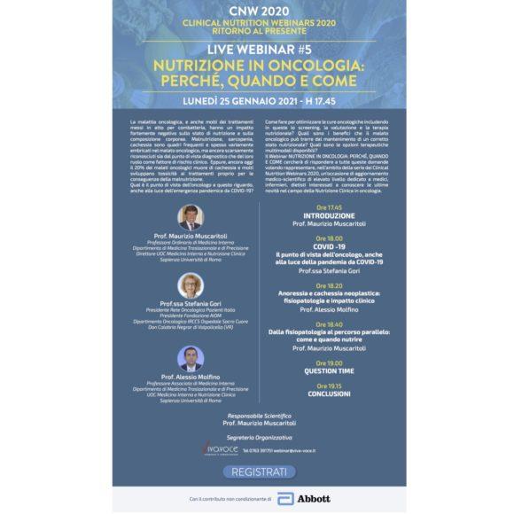 CNW2020 RITORNO AL PRESENTE LIVE WEBINAR #5 NUTRIZIONE IN ONCOLOGIA: PERCHÉ, QUANDO E COME